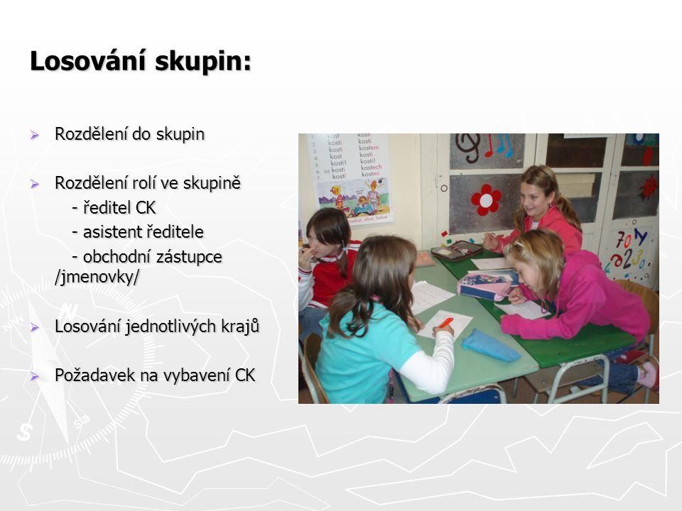 Losování skupin:  Rozdělení do skupin  Rozdělení rolí ve skupině - ředitel CK - ředitel CK - asistent ředitele - asistent ředitele - obchodní zástup