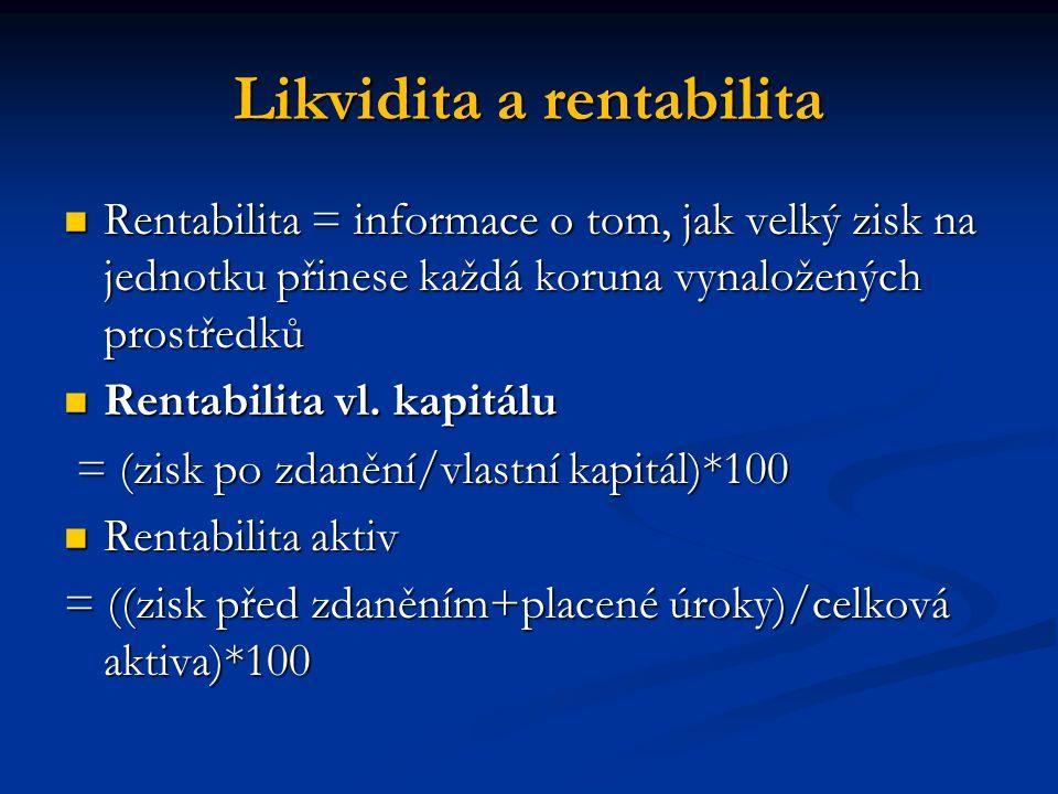 Likvidita a rentabilita Rentabilita = informace o tom, jak velký zisk na jednotku přinese každá koruna vynaložených prostředků Rentabilita = informace o tom, jak velký zisk na jednotku přinese každá koruna vynaložených prostředků Rentabilita vl.