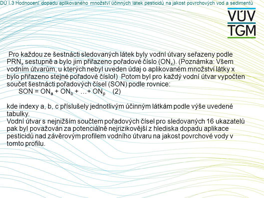 Pro každou ze šestnácti sledovaných látek byly vodní útvary seřazeny podle PRN x sestupně a bylo jim přiřazeno pořadové číslo (ON x ).