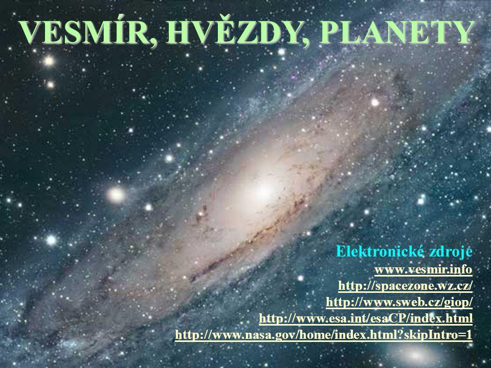 VESMÍR, HVĚZDY, PLANETY Elektronické zdroje www.vesmir.info http://spacezone.wz.cz/ http://www.sweb.cz/giop/ http://www.esa.int/esaCP/index.html http://www.nasa.gov/home/index.html skipIntro=1