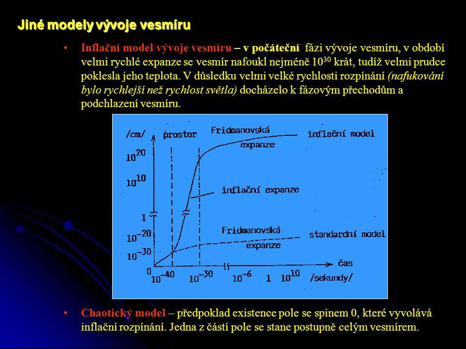 Inflační model vývoje vesmíru – v počáteční fázi vývoje vesmíru, v období velmi rychlé expanze se vesmír nafoukl nejméně 10 30 krát, tudíž velmi prudce poklesla jeho teplota.
