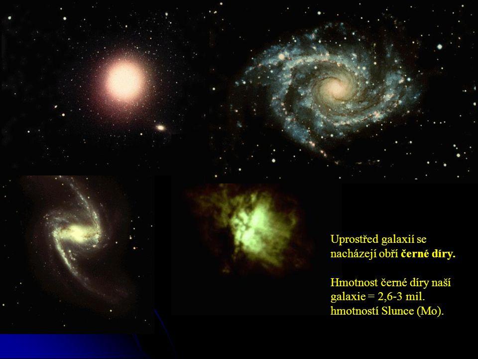 Uprostřed galaxií se nacházejí obří černé díry. Hmotnost černé díry naší galaxie = 2,6-3 mil.