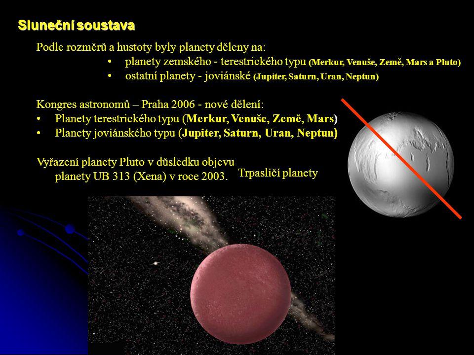 Podle rozměrů a hustoty byly planety děleny na: planety zemského - terestrického typu (Merkur, Venuše, Země, Mars a Pluto) ostatní planety - joviánské (Jupiter, Saturn, Uran, Neptun) Sluneční soustava Kongres astronomů – Praha 2006 - nové dělení: Planety terestrického typu (Merkur, Venuše, Země, Mars) Planety joviánského typu (Jupiter, Saturn, Uran, Neptun ) Vyřazení planety Pluto v důsledku objevu planety UB 313 (Xena) v roce 2003.