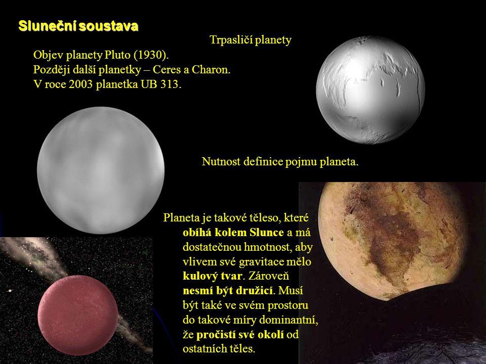 Sluneční soustava Nutnost definice pojmu planeta. Objev planety Pluto (1930).