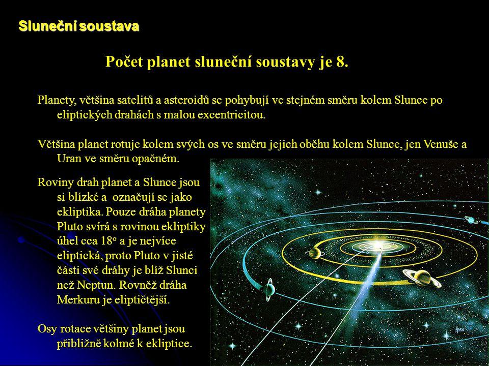 Počet planet sluneční soustavy je 8.