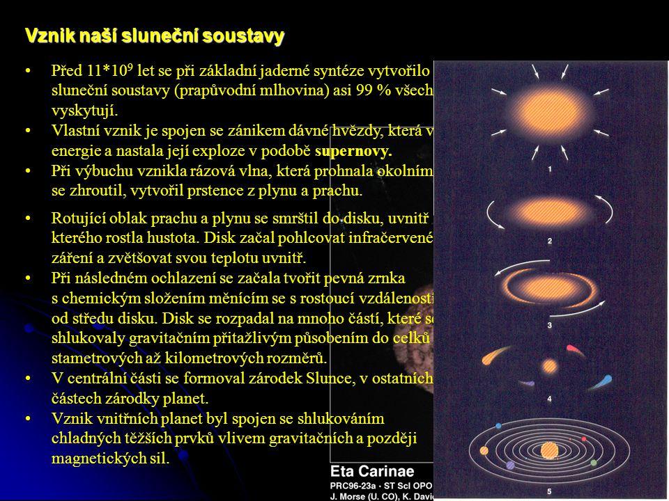 Vznik naší sluneční soustavy Před 11*10 9 let se při základní jaderné syntéze vytvořilo z galaktického H a He sluneční soustavy (prapůvodní mlhovina) asi 99 % všech prvků, které se dnes vyskytují.