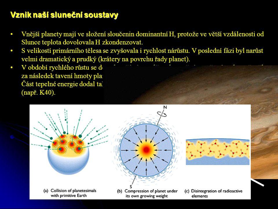 Vznik naší sluneční soustavy Vnější planety mají ve složení sloučenin dominantní H, protože ve větší vzdálenosti od Slunce teplota dovolovala H zkondenzovat.