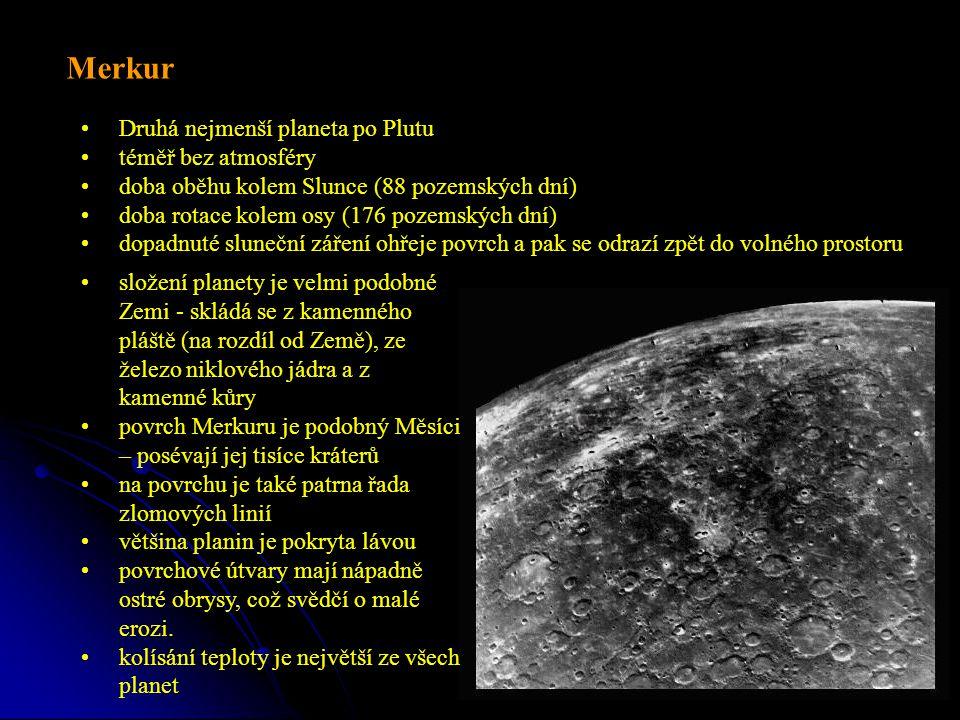 Druhá nejmenší planeta po Plutu téměř bez atmosféry doba oběhu kolem Slunce (88 pozemských dní) doba rotace kolem osy (176 pozemských dní) dopadnuté sluneční záření ohřeje povrch a pak se odrazí zpět do volného prostoru Merkur složení planety je velmi podobné Zemi - skládá se z kamenného pláště (na rozdíl od Země), ze železo niklového jádra a z kamenné kůry povrch Merkuru je podobný Měsíci – posévají jej tisíce kráterů na povrchu je také patrna řada zlomových linií většina planin je pokryta lávou povrchové útvary mají nápadně ostré obrysy, což svědčí o malé erozi.