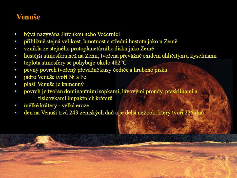 bývá nazývána Jitřenkou nebo Večernicí přibližně stejná velikost, hmotnost a střední hustotu jako u Země vznikla ze stejného protoplanetárního disku jako Země hustější atmosféra než na Zemi, tvořená převážně oxidem uhličitým a kyselinami teplota atmosféry se pohybuje okolo 482°C pevný povrch tvořený převážně kusy čediče a hrubého písku jádro Venuše tvoří Ni a Fe plášť Venuše je kamenný povrch je tvořen dominantními sopkami, lávovými proudy, prasklinami a tisícovkami impaktních kráterů mělké krátery - velká eroze den na Venuši trvá 243 zemských dnů a je delší než rok, který tvoří 225 dnů Venuše
