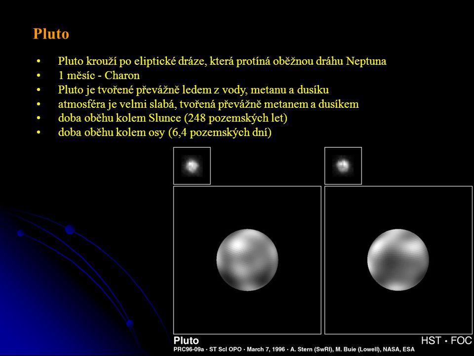 Pluto krouží po eliptické dráze, která protíná oběžnou dráhu Neptuna 1 měsíc - Charon Pluto je tvořené převážně ledem z vody, metanu a dusíku atmosféra je velmi slabá, tvořená převážně metanem a dusíkem doba oběhu kolem Slunce (248 pozemských let) doba oběhu kolem osy (6,4 pozemských dní) Pluto