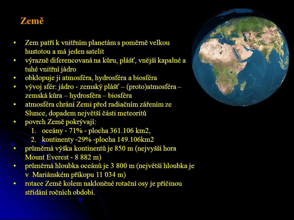 Zem patří k vnitřním planetám s poměrně velkou hustotou a má jeden satelit výrazně diferencovaná na kůru, plášť, vnější kapalné a tuhé vnitřní jádro obklopuje ji atmosféra, hydrosféra a biosféra vývoj sfér: jádro - zemský plášť – (proto)atmosféra – zemská kůra – hydrosféra – biosféra atmosféra chrání Zemi před radiačním zářením ze Slunce, dopadem největší části meteoritů povrch Země pokrývají: 1.oceány - 71% - plocha 361.106 km2, 2.kontinenty -29% -plocha 149.106km2 průměrná výška kontinentů je 850 m (nejvyšší hora Mount Everest - 8 882 m) průměrná hloubka oceánů je 3 800 m (největší hloubka je v Mariánském příkopu 11 034 m) rotace Země kolem nakloněné rotační osy je příčinou střídání ročních období.