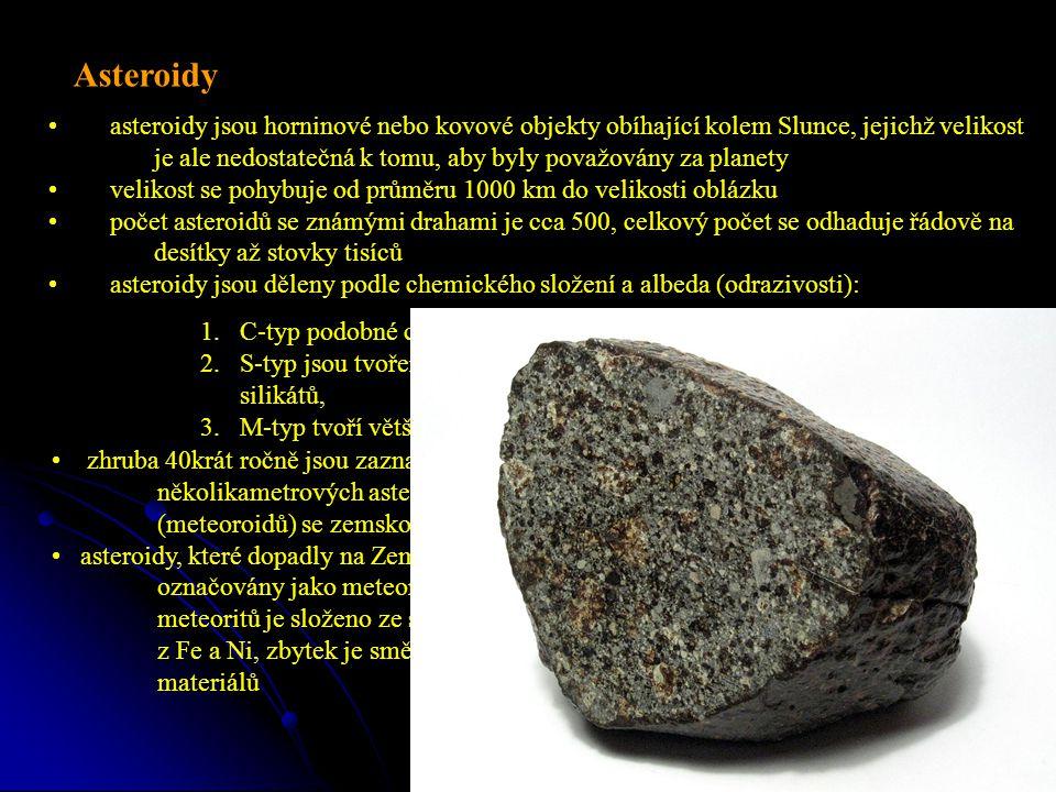 asteroidy jsou horninové nebo kovové objekty obíhající kolem Slunce, jejichž velikost je ale nedostatečná k tomu, aby byly považovány za planety velikost se pohybuje od průměru 1000 km do velikosti oblázku počet asteroidů se známými drahami je cca 500, celkový počet se odhaduje řádově na desítky až stovky tisíců asteroidy jsou děleny podle chemického složení a albeda (odrazivosti): Asteroidy 1.C-typ podobné chondritovým meteoritům, 2.S-typ jsou tvořeny směsí Ni a Fe s obsahem železnato-hořečnatých silikátů, 3.M-typ tvoří většinu zbylých asteroidů zhruba 40krát ročně jsou zaznamenány srážky několikametrových asteroidů (meteoroidů) se zemskou atmosférou asteroidy, které dopadly na Zemi jsou označovány jako meteority - 92,8% meteoritů je složeno ze silikátů, 5,7 % z Fe a Ni, zbytek je směs těchto tří materiálů