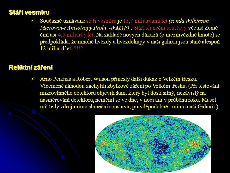 Současně uznávané stáří vesmíru je 13,7 miliardami let (sonda Wilkinson Microwave Anisotropy Probe -WMAP).