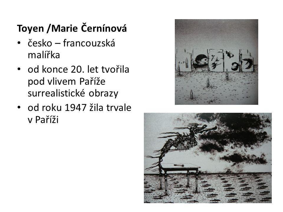 Toyen /Marie Černínová česko – francouzská malířka od konce 20. let tvořila pod vlivem Paříže surrealistické obrazy od roku 1947 žila trvale v Paříži