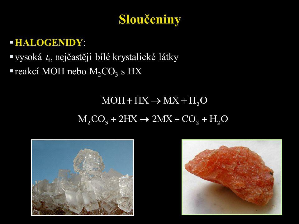 Sloučeniny  HALOGENIDY:  vysoká t t, nejčastěji bílé krystalické látky  reakcí MOH nebo M 2 CO 3 s HX
