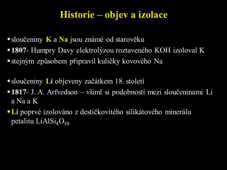 Historie – objev a izolace  sloučeniny K a Na jsou známé od starověku  1807- Humpry Davy elektrolýzou roztaveného KOH izoloval K  stejným způsobem připravil kuličky kovového Na  sloučeniny Li objeveny začátkem 18.