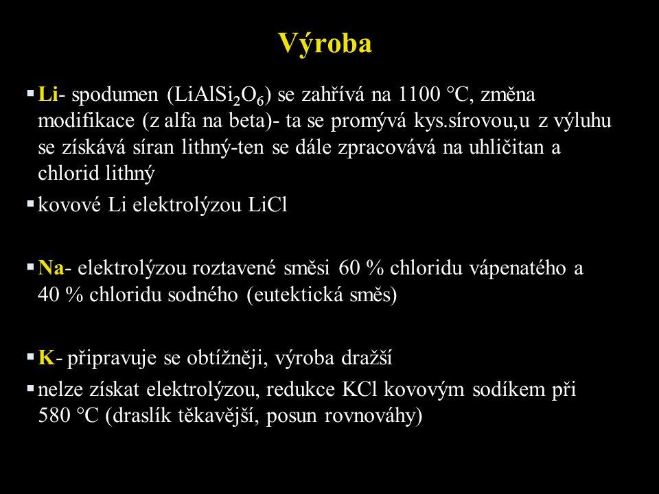 Výroba  Li- spodumen (LiAlSi 2 O 6 ) se zahřívá na 1100 °C, změna modifikace (z alfa na beta)- ta se promývá kys.sírovou,u z výluhu se získává síran lithný-ten se dále zpracovává na uhličitan a chlorid lithný  kovové Li elektrolýzou LiCl  Na- elektrolýzou roztavené směsi 60 % chloridu vápenatého a 40 % chloridu sodného (eutektická směs)  K- připravuje se obtížněji, výroba dražší  nelze získat elektrolýzou, redukce KCl kovovým sodíkem při 580 °C (draslík těkavější, posun rovnováhy)