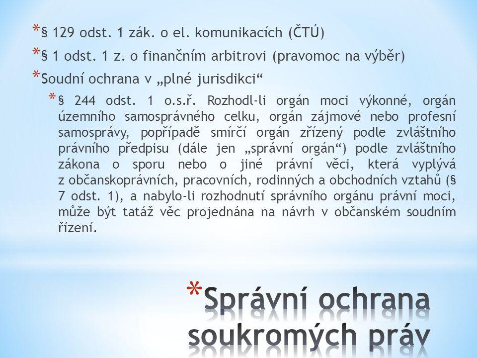 * § 129 odst.1 zák. o el. komunikacích (ČTÚ) * § 1 odst.