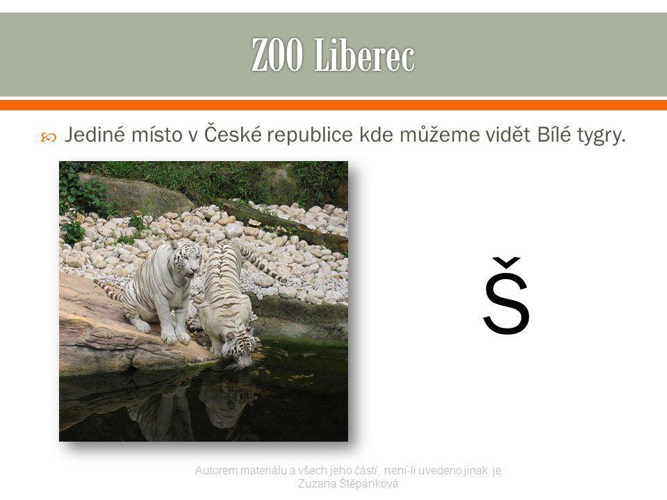  Jediné místo v České republice kde můžeme vidět Bílé tygry. Autorem materiálu a všech jeho částí, není-li uvedeno jinak, je Zuzana Štěpánková Š