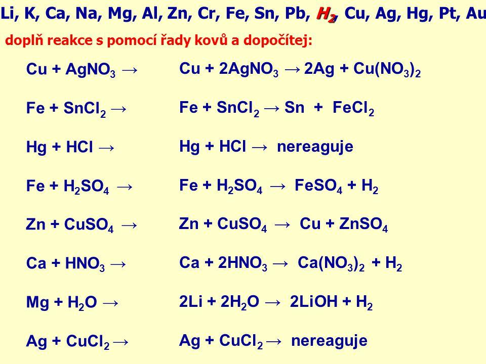 H 2 Li, K, Ca, Na, Mg, Al, Zn, Cr, Fe, Sn, Pb, H 2, Cu, Ag, Hg, Pt, Au Cu + AgNO 3 → Fe + SnCl 2 → Hg + HCl → Fe + H 2 SO 4 → Zn + CuSO 4 → Ca + HNO 3