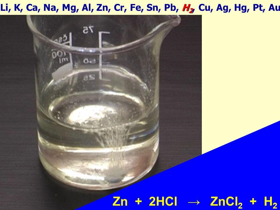 Zn + 2HCl → ZnCl 2 + H 2 H 2 Li, K, Ca, Na, Mg, Al, Zn, Cr, Fe, Sn, Pb, H 2, Cu, Ag, Hg, Pt, Au