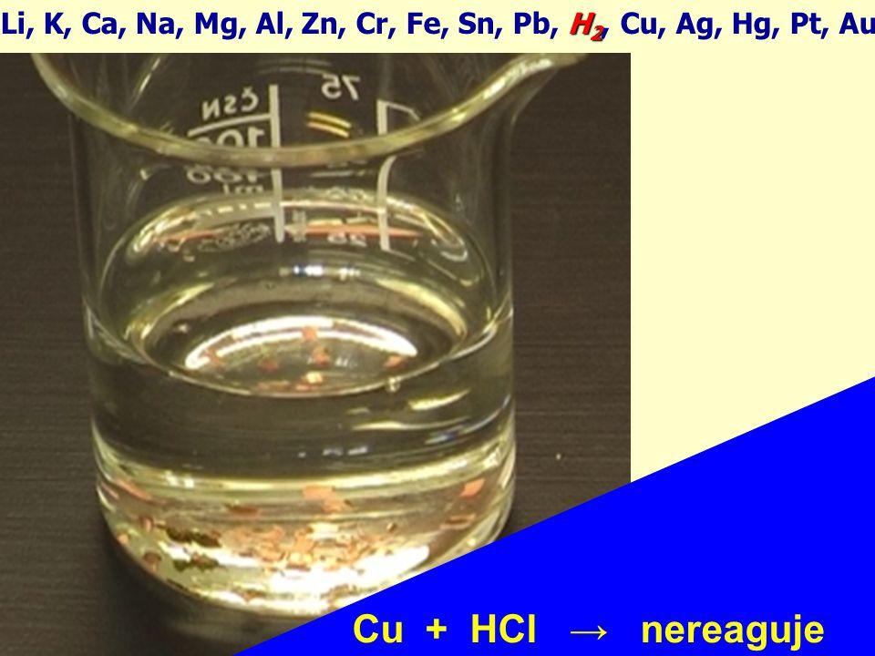 H 2 Li, K, Ca, Na, Mg, Al, Zn, Cr, Fe, Sn, Pb, H 2, Cu, Ag, Hg, Pt, Au Cu + 4HNO 3 → Cu(NO 3 ) 2 + 2NO 2 + 2H 2 O !!!