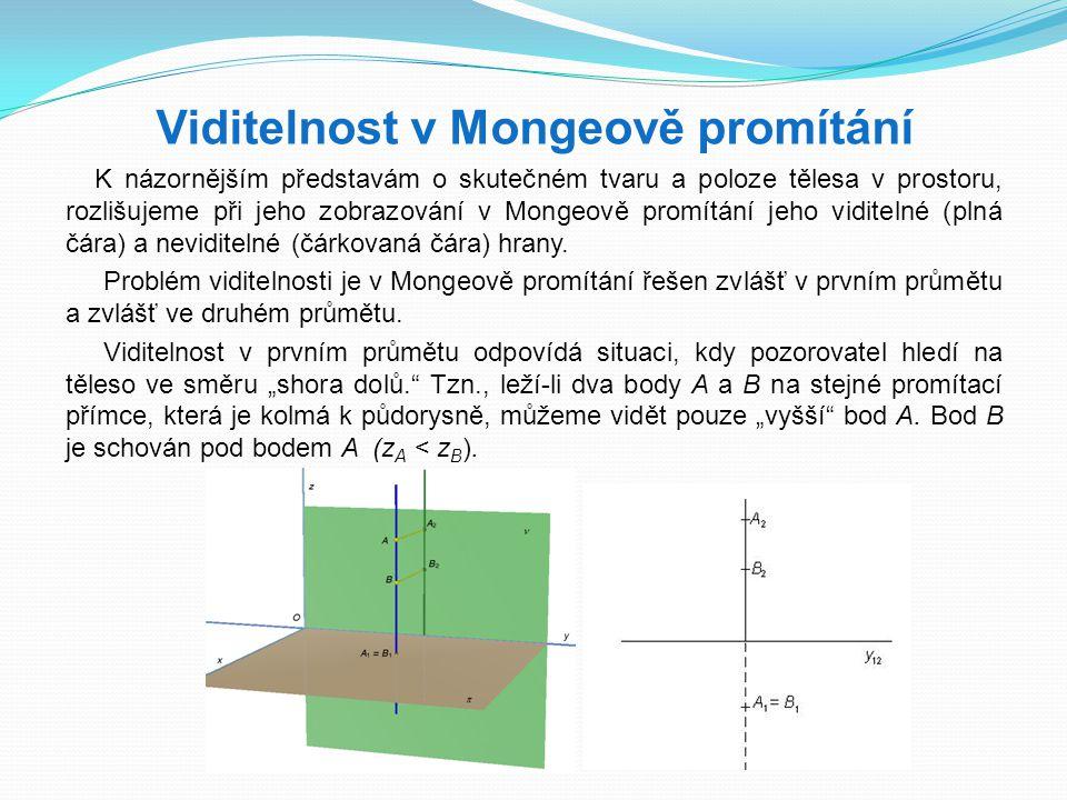 Viditelnost v Mongeově promítání K názornějším představám o skutečném tvaru a poloze tělesa v prostoru, rozlišujeme při jeho zobrazování v Mongeově pr