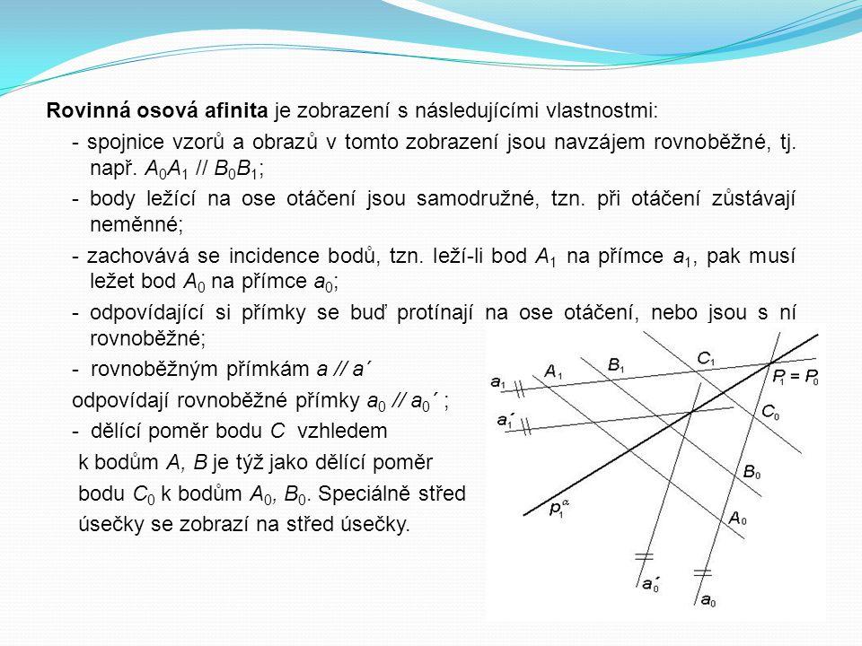 Rovinná osová afinita je zobrazení s následujícími vlastnostmi: - spojnice vzorů a obrazů v tomto zobrazení jsou navzájem rovnoběžné, tj. např. A 0 A