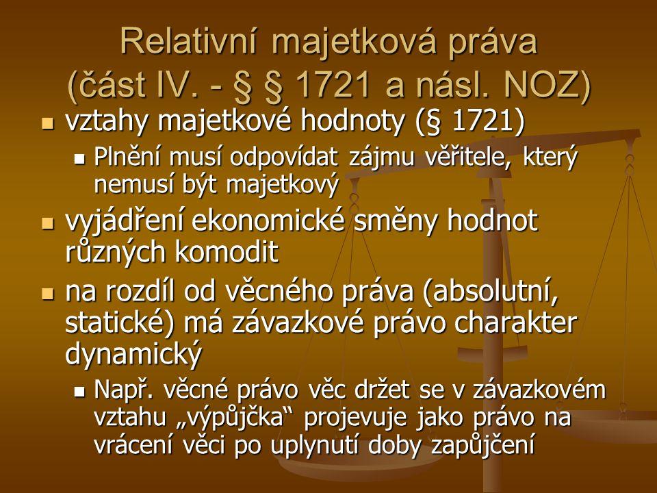 Relativní majetková práva (část IV. - § § 1721 a násl. NOZ) vztahy majetkové hodnoty (§ 1721) vztahy majetkové hodnoty (§ 1721) Plnění musí odpovídat