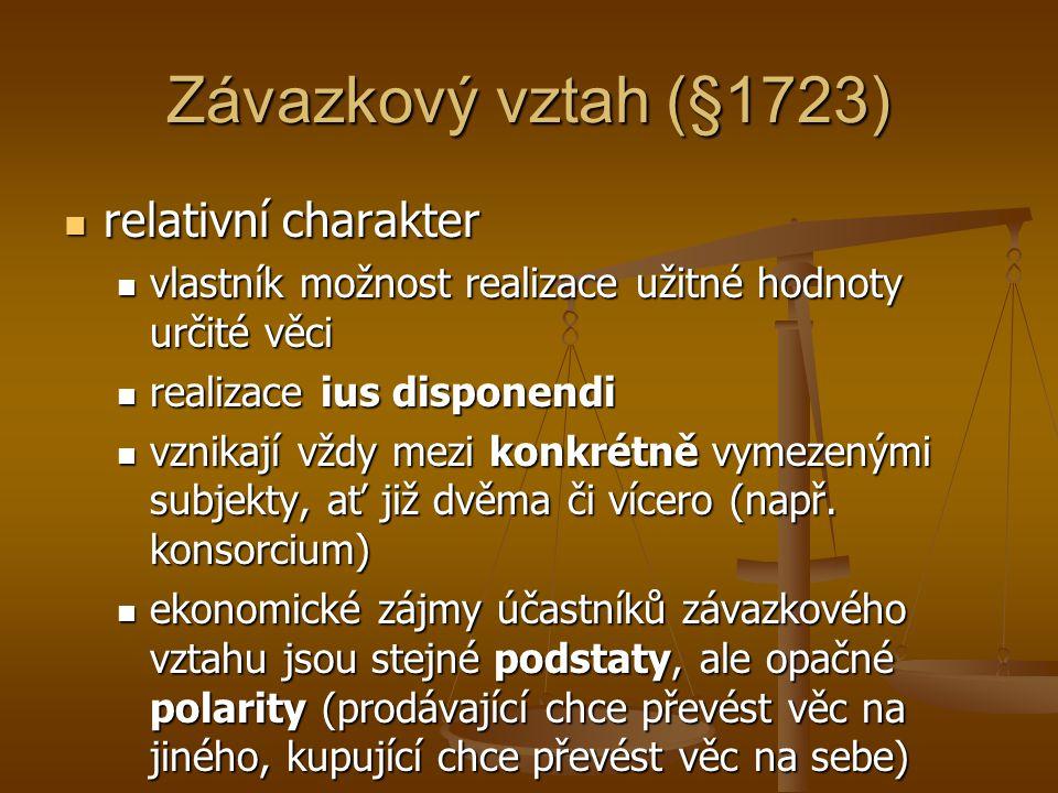 Právní důvod vzniku závazku NOZ § 1722: § 1722: Závazek vzniká ze smlouvy, z protiprávního činu nebo z jiné právní skutečnosti, která je tomu podle právního řádu způsobilá.