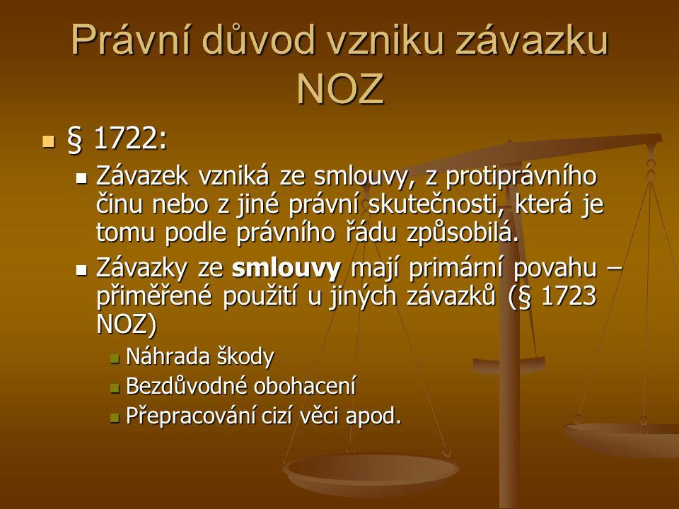 Smlouva - obecně Každé pactum (dohoda) není smlouva Každé pactum (dohoda) není smlouva Musí směřovat ke zřízení závazku (§ 1724) Musí směřovat ke zřízení závazku (§ 1724) Jinak jde o dohodu (změny, zrušení závazku) Jinak jde o dohodu (změny, zrušení závazku) Perfekce smlouvy Perfekce smlouvy Okamžikem dojednání obsahu smlouvy (setkáním projevů vůle stran) Okamžikem dojednání obsahu smlouvy (setkáním projevů vůle stran) Smlouva nemusí obsahovat všechny náležitosti Smlouva nemusí obsahovat všechny náležitosti Fikce uzavření smlouvy – konvalidiace následnm chováním Fikce uzavření smlouvy – konvalidiace následnm chováním Samostatné posuzování souvisejících smluv (§ 1727) Samostatné posuzování souvisejících smluv (§ 1727)
