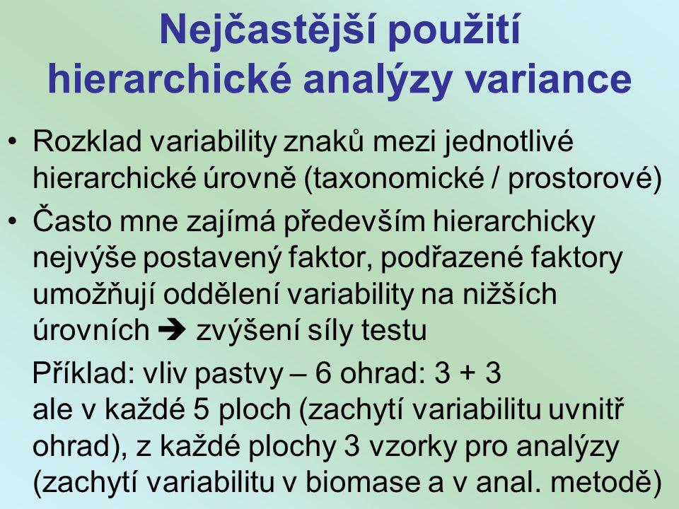 Nejčastější použití hierarchické analýzy variance Rozklad variability znaků mezi jednotlivé hierarchické úrovně (taxonomické / prostorové) Často mne zajímá především hierarchicky nejvýše postavený faktor, podřazené faktory umožňují oddělení variability na nižších úrovních  zvýšení síly testu Příklad: vliv pastvy – 6 ohrad: 3 + 3 ale v každé 5 ploch (zachytí variabilitu uvnitř ohrad), z každé plochy 3 vzorky pro analýzy (zachytí variabilitu v biomase a v anal.