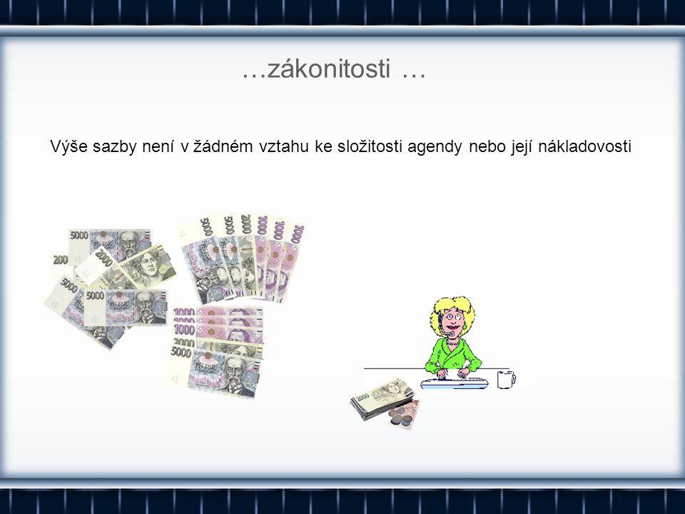 …zákonitosti … Výše sazby není v žádném vztahu ke složitosti agendy nebo její nákladovosti