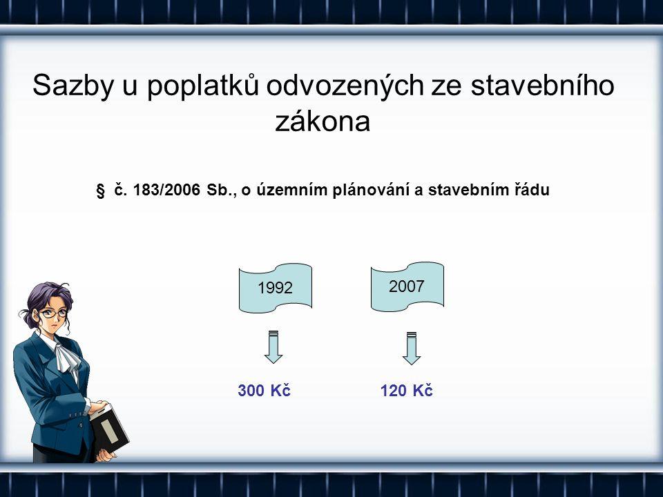 Sazby u poplatků odvozených ze stavebního zákona § č. 183/2006 Sb., o územním plánování a stavebním řádu 300 Kč120 Kč 1992 2007