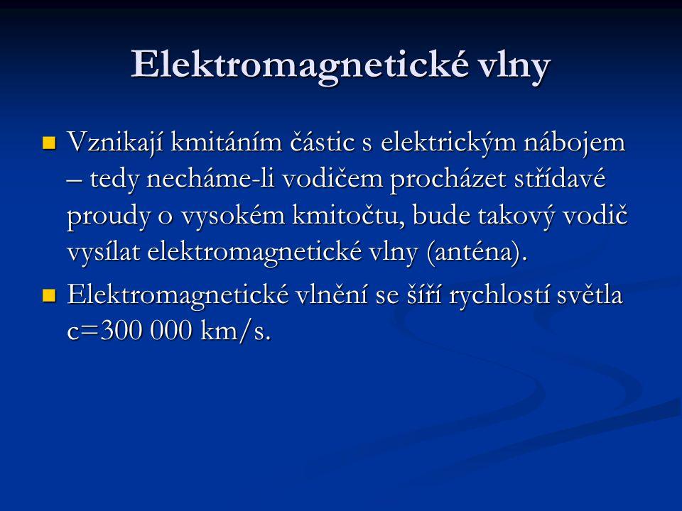 Elektromagnetické vlny Vznikají kmitáním částic s elektrickým nábojem – tedy necháme-li vodičem procházet střídavé proudy o vysokém kmitočtu, bude takový vodič vysílat elektromagnetické vlny (anténa).