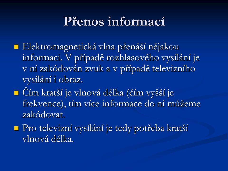 Přenos informací Elektromagnetická vlna přenáší nějakou informaci. V případě rozhlasového vysílání je v ní zakódován zvuk a v případě televizního vysí