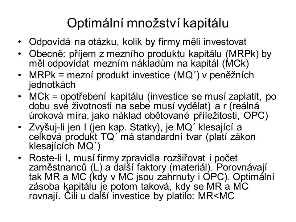 Optimální množství kapitálu Odpovídá na otázku, kolik by firmy měli investovat Obecně: příjem z mezního produktu kapitálu (MRPk) by měl odpovídat mezn