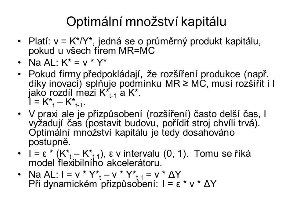 Optimální množství kapitálu Platí: ν = K*/Y*, jedná se o průměrný produkt kapitálu, pokud u všech firem MR=MC Na AL: K* = v * Y* Pokud firmy předpoklá