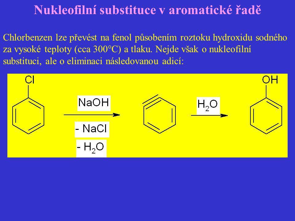 Nukleofilní substituce v aromatické řadě Chlorbenzen lze převést na fenol působením roztoku hydroxidu sodného za vysoké teploty (cca 300°C) a tlaku. N