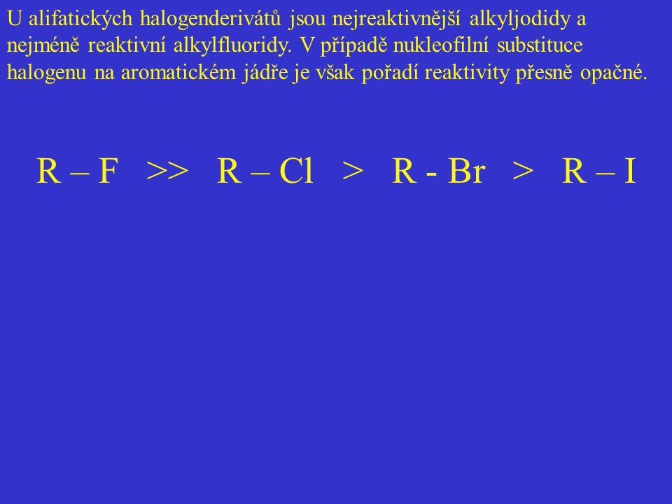 U alifatických halogenderivátů jsou nejreaktivnější alkyljodidy a nejméně reaktivní alkylfluoridy. V případě nukleofilní substituce halogenu na aromat