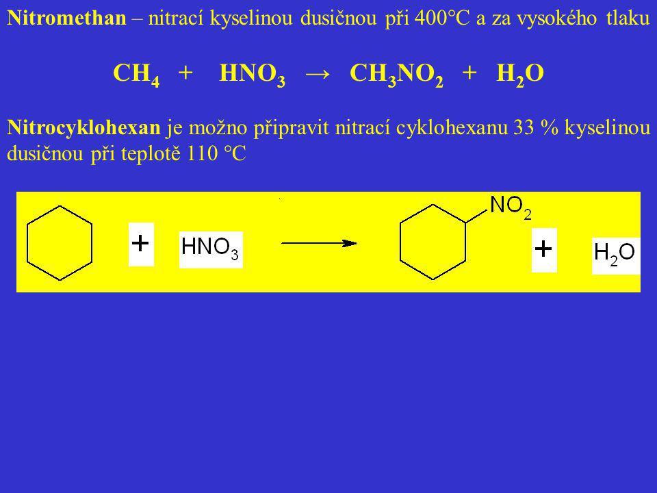 Nitromethan – nitrací kyselinou dusičnou při 400°C a za vysokého tlaku CH 4 + HNO 3 → CH 3 NO 2 + H 2 O Nitrocyklohexan je možno připravit nitrací cyk