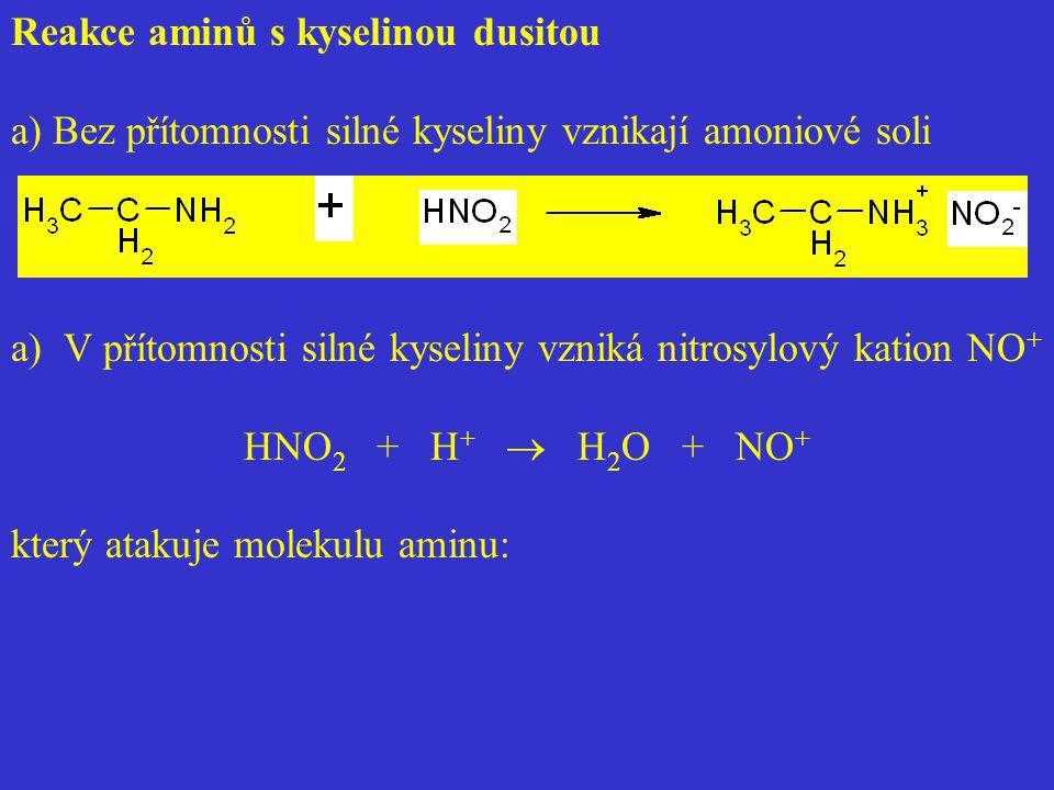 Reakce aminů s kyselinou dusitou a) Bez přítomnosti silné kyseliny vznikají amoniové soli a)V přítomnosti silné kyseliny vzniká nitrosylový kation NO