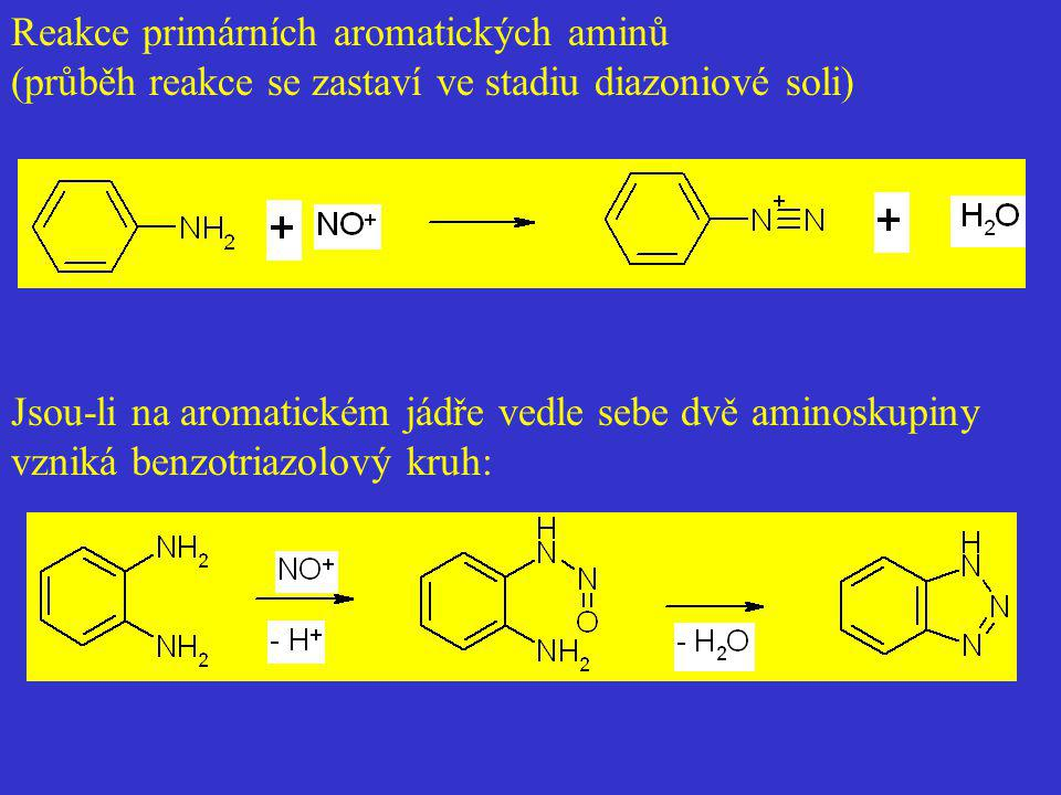 Reakce primárních aromatických aminů (průběh reakce se zastaví ve stadiu diazoniové soli) Jsou-li na aromatickém jádře vedle sebe dvě aminoskupiny vzn