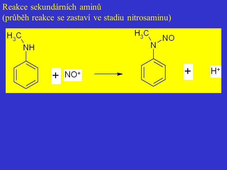 Reakce sekundárních aminů (průběh reakce se zastaví ve stadiu nitrosaminu)