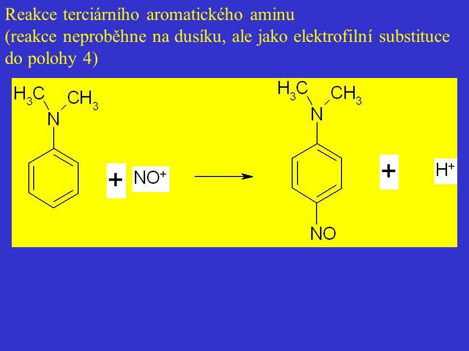 Reakce terciárního aromatického aminu (reakce neproběhne na dusíku, ale jako elektrofilní substituce do polohy 4)