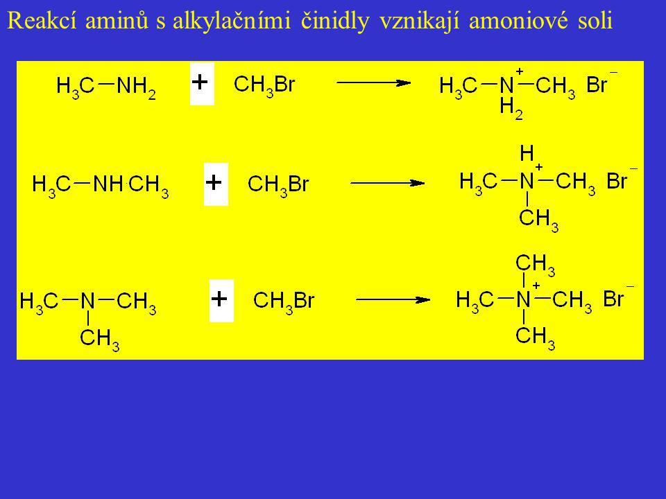 Reakcí aminů s alkylačními činidly vznikají amoniové soli