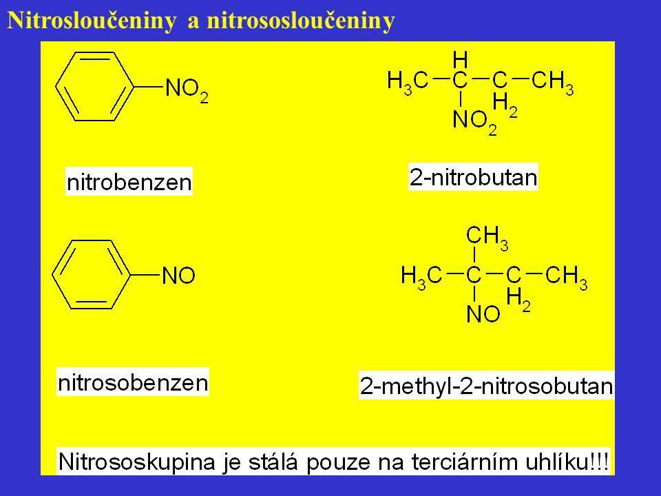 Příprava diazoniových solí Nejdůležitější diazotace NaNO 2 + HCl → HNO 2 + NaCl HNO 2 + H + → NO + + H 2 O