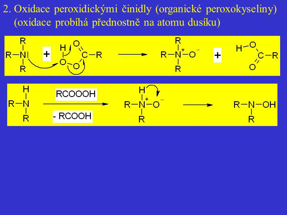 2. Oxidace peroxidickými činidly (organické peroxokyseliny) (oxidace probíhá přednostně na atomu dusíku)