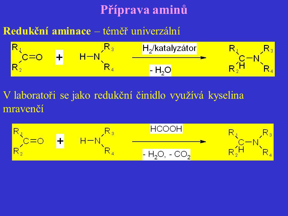 Příprava aminů Redukční aminace – téměř univerzální V laboratoři se jako redukční činidlo využívá kyselina mravenčí