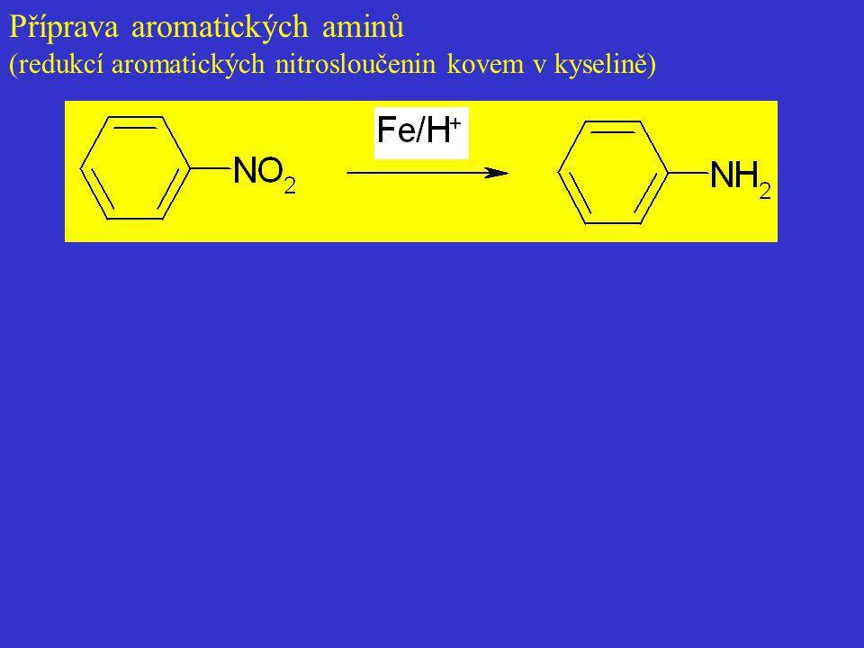 Příprava aromatických aminů (redukcí aromatických nitrosloučenin kovem v kyselině)